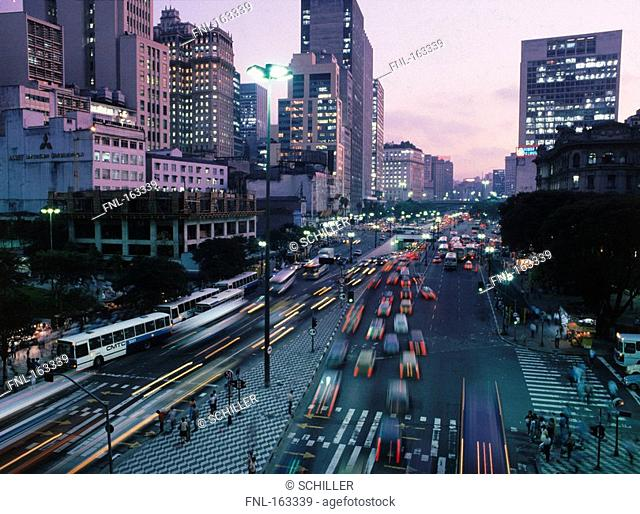 Traffic moving on city road, Sao Paulo, Brazil