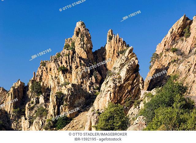 Red porphyry rocks, Calanche de Piana, Gulf of Porto, Corsica, France, Europe