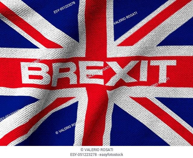 """the United Kingdom flag printed on a textured Jersey Piquè knit fabric with the word """"""""BREXIT"""""""" written in the center. Concept of Euroscepticism"""