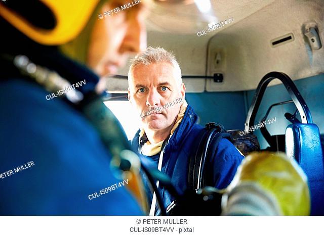 Fireman inside fire engine