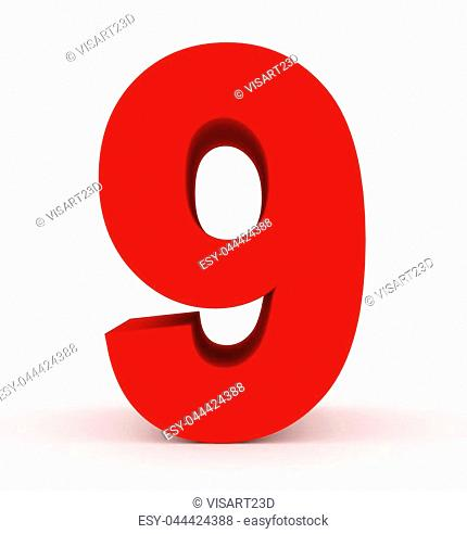 number 9 3d clean red isolated on white - 3d rendering