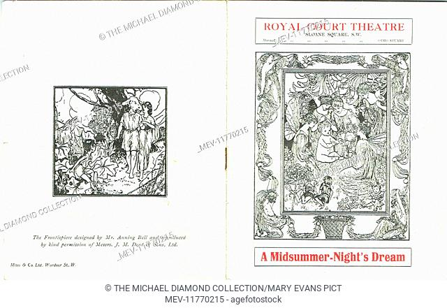 Front and rear cover of a promotional flyer for A Midsummer-Night's Dream by William Shakespeare at the Royal Court Theatre, Sloane Square London, 1915