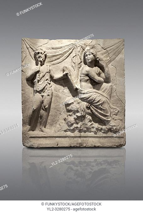 Roman relief War of the Giants and The Gods. Roman 2nd century AD, Hierapolis Theatre. . Hierapolis Archaeology Museum, Turkey
