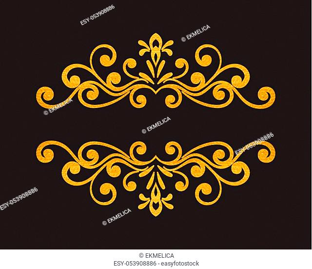 Elegant luxury vintage gold floral hand drawn decorative border or frame on black background. Refined vignette element for banner, invitation, menu, postcard