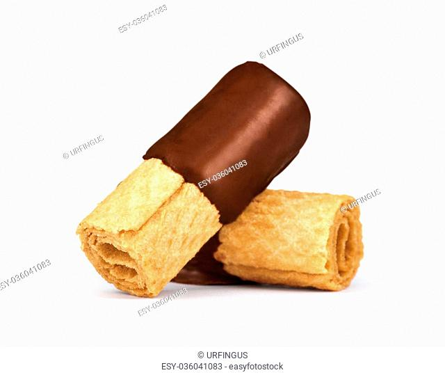rolled wafers in chocolate isolated on white background