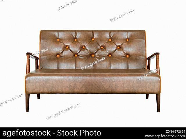 Vintage leather sofa with brown and made of solid wood, isolated on white background