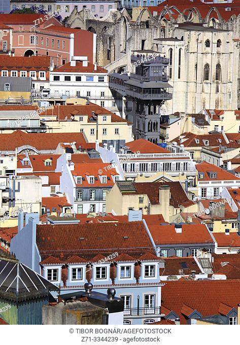 Portugal, Lisbon, Baixa, Elevador de Santa Justa, aerial view,