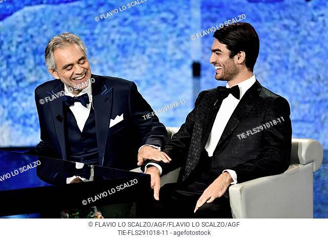 The tenor Andrea Bocelli and son Matteo Bocelli during the tv show Che tempo che fa, Milan, ITALY-28-10-2018