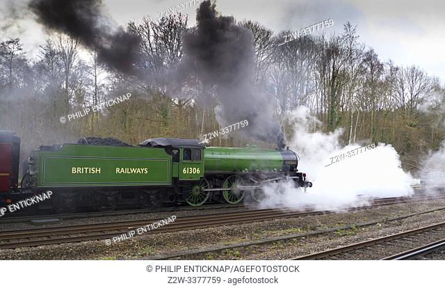 B1 Class loco 61306 Mayflower lets of steam heading off from Winchfield following a water stop with the Steam Dreams Victoria to Bath & Bristol tour on the 7th...