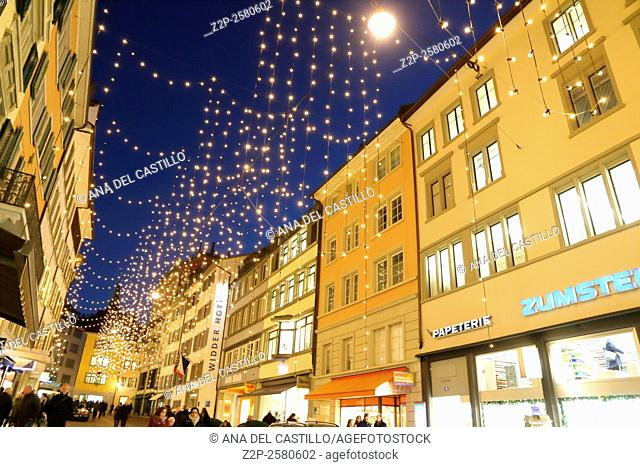 Bahnhofstrasse in Zurich decorated for Christmas on December 7, 2015
