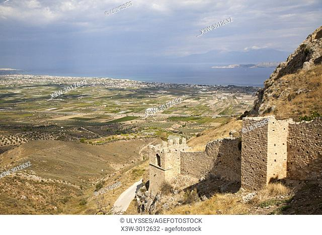 Europe, Greece, Peloponnese, Corinth, acropolis of Acrocorinth