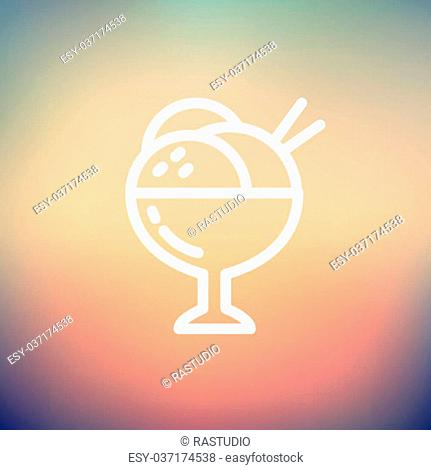 Ice cream on cup icon thin line for web and mobile, modern minimalistic flat design. Vector white icon on gradient mesh background