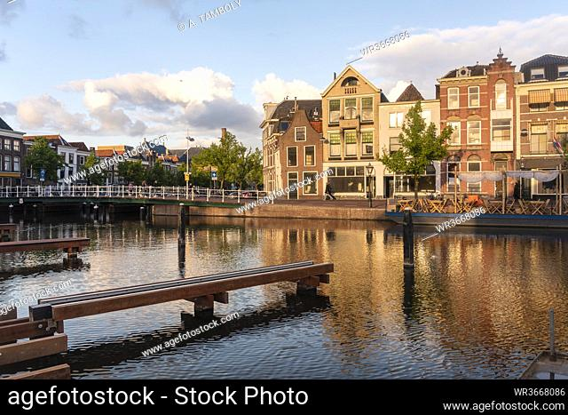 Netherlands, South Holland, Leiden, Old houses by Turfmarkt