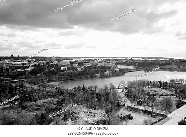 Aerial view of the city of Helsinki, Finland in black and white