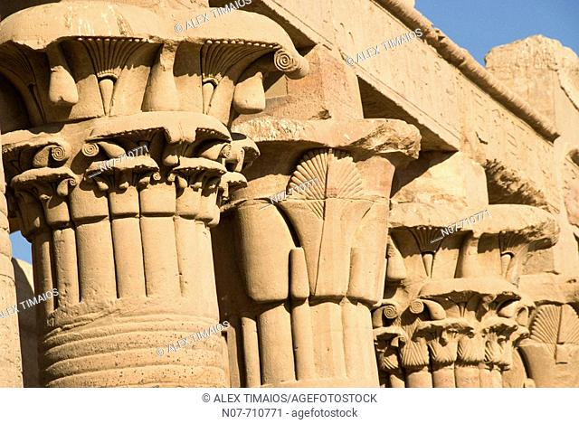 Detailled view of the Capitels of the Isis temple in Aswan, Egypt