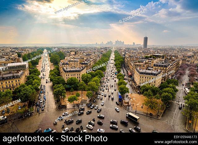 Paris city skyline at La Defence view from Arc de Triomphe, Paris, France