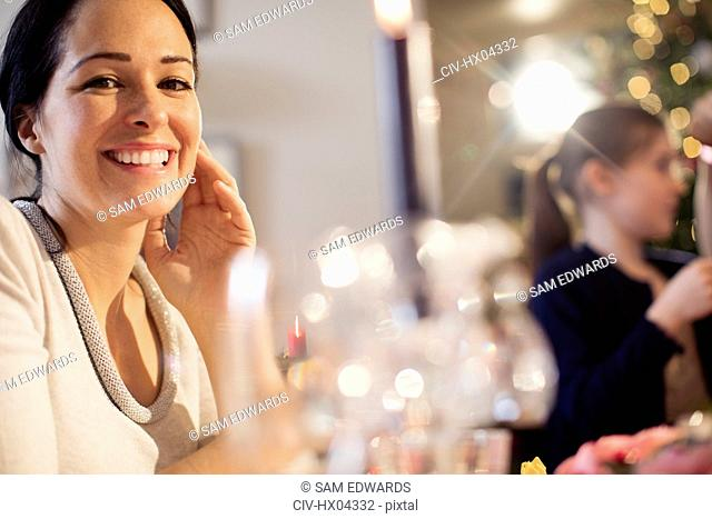 Portrait smiling, confident woman enjoying Christmas dinner