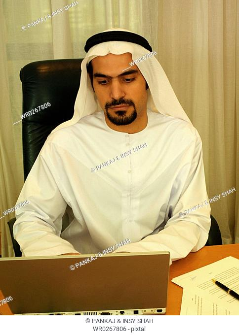 Arab Businessman on the computer in the office