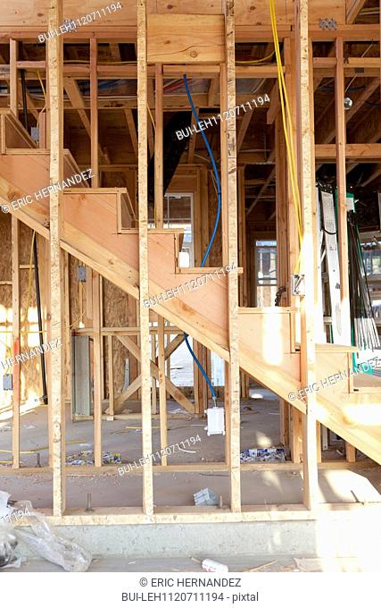Wooden steps of house under construction; Azusa; California; USA