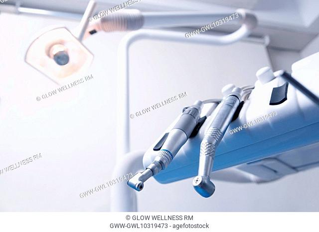 Close-up of dental instruments in an examination room