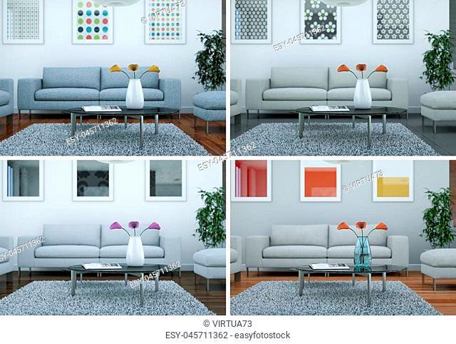 Four color variations of modern interior loft design 3d Illustration