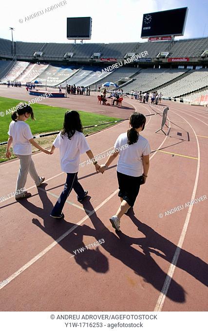 Children at the Olympic Stadium, Barcelona, Spain