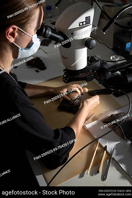 22 September 2020, Lower Saxony, Bramsche: Looking through a microscope, restorer Rebekka Kuiter uncovers the fitting of a Roman rail tank