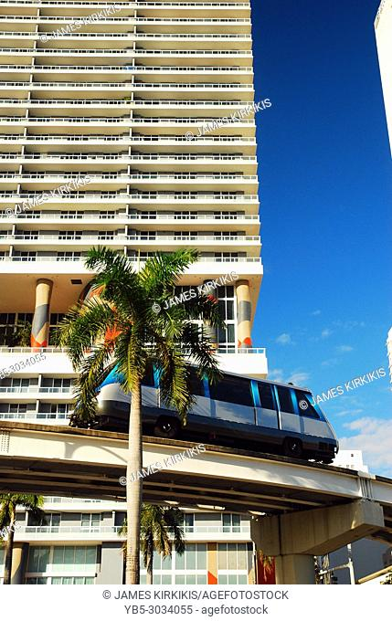The Metromover monorail glides through downtown Miami