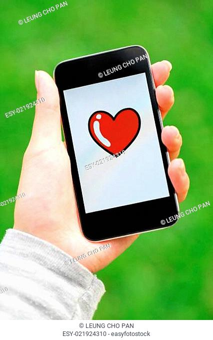 Love message on mobile phone screen