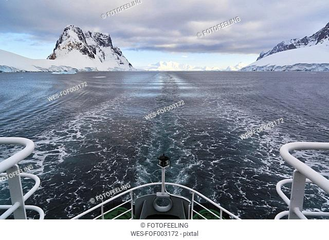 South Atlantic Ocean, Antarctica, Antarctic Peninsula, Lemaire Channel, Polar star icebreaker cruise ship stern