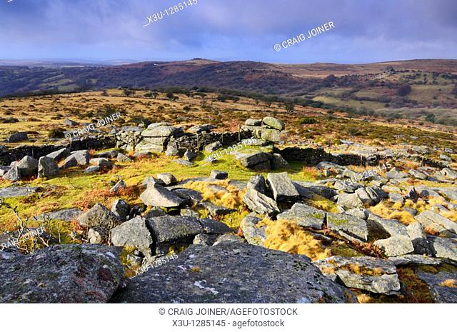 View over the Walkham Valley from Kings Tor on Dartmoor National Park near Merrivale in Devon, England, United Kingdom
