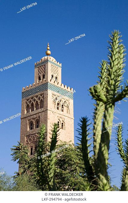 Minaret of Koutoubia Mosque, landmark of Marrakech, Morocco