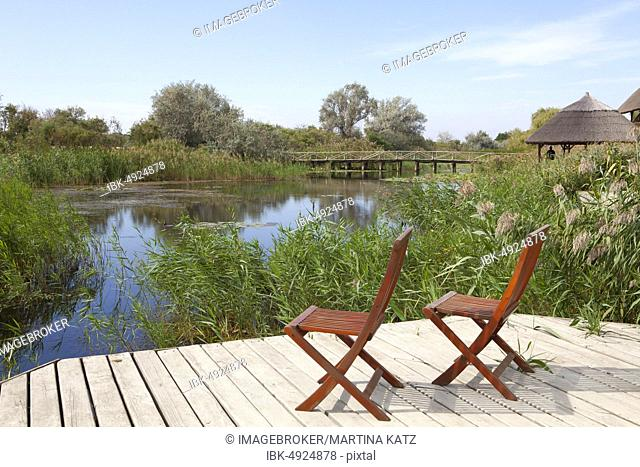 Two chairs on viewing platform at the lagoon, Danube arm Sfântu-Gheorghe, Danube Delta Biosphere Reserve, Dobrudscha, Romania, Europe