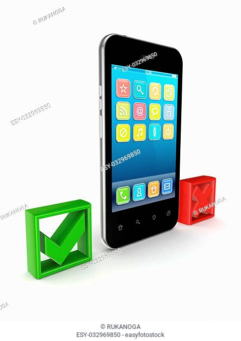 Modern mobile phone between tick and cross marks.Isolated on white background.3d rendered