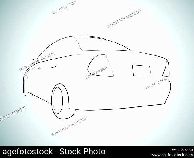 Vector Outlines of sport car back view. Vector illustration