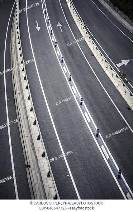 Detail of a modern highway in the metropolitan area of â. ‹â. ‹Barcelona in Catalonia Spain