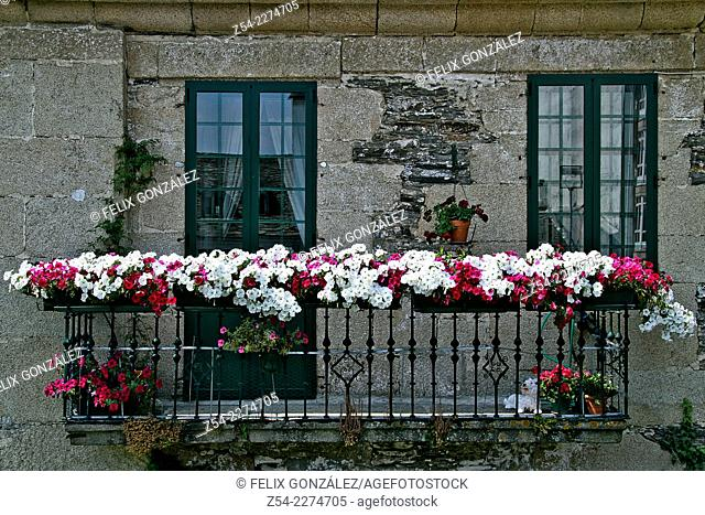 Balcony with flowers at Lugo city, Galicia, Spain