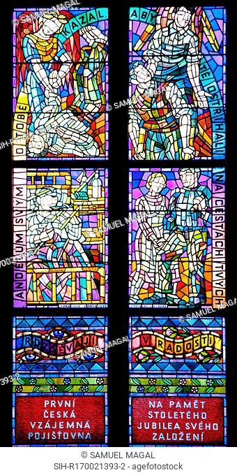 Stained Glass window in the Thunov Chapel, in the St Vitus Cathedral, Prague, Czech Republic. The window was designed by Frantisek Kysela 1929 - 1934