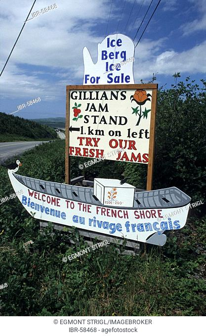 Hand painted advertisement sign for jam at Gunner's Cove, Newfoundland