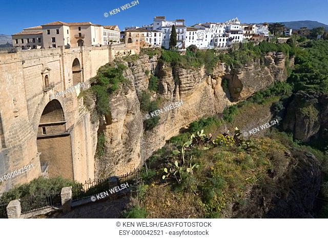 Puente Nuevo (new bridge) on 'tajo' gorge, Ronda. Málaga province, Andalusia. Spain