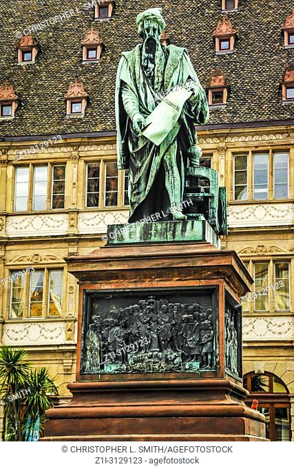 The statue of Gutenberg in Place Gutenberg, Strasbourg, France