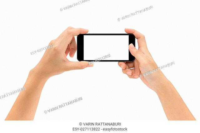 hand holding phone isolated on white background, mock-up smart phone matte black color
