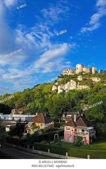Chateau-Gaillard and river Seine, Les Andelys, Seine valley, Normandy, France, Monument historique