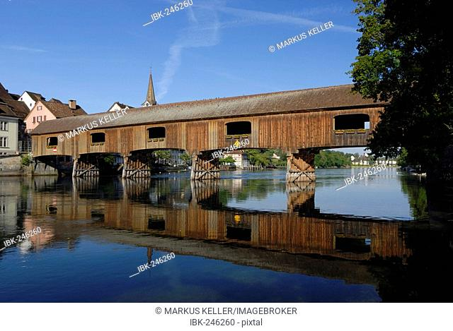A historyc woodenbridge on the border from germany-switzerland - Baden Wuerttemberg, Germany, Europe