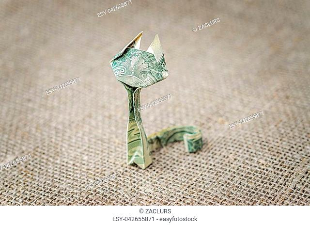 Origami dollar cat on rustic jute background