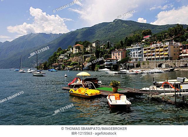 Shore and marina of Ascona, Lago Maggiore lake, Ticino, Switzerland, Europe