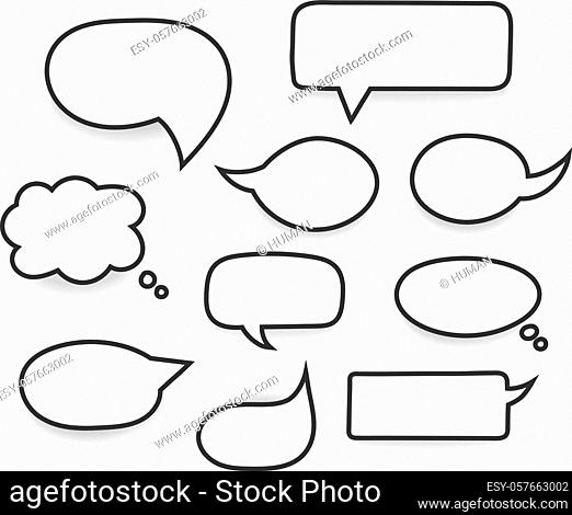 Set of hand drawn white speech bubbles with black stroke, vector eps10 illustration