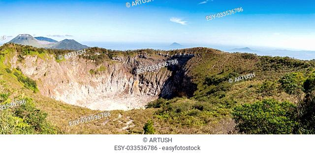 The caldera of Mahawu volcano on the island of Sulawesi in Indonesia has a tiny crater lake. This part of the western Pacific has numerous live volcanoes