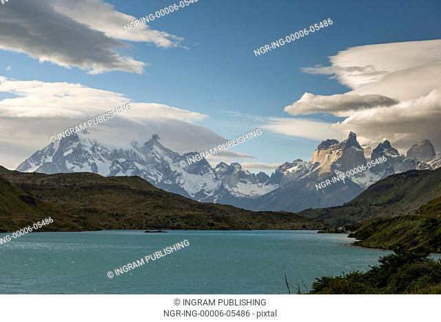 View of a lake with mountains in the background, Torres del Paine National Park, Patagonia, Chile