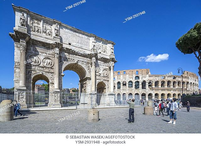 Arch of Constantine South side, from Via triumphalis, Colosseum to right, Rome, Lazio, Italy, Europe